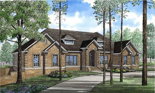 This image shows the front elevation for these Georgian House Plans.