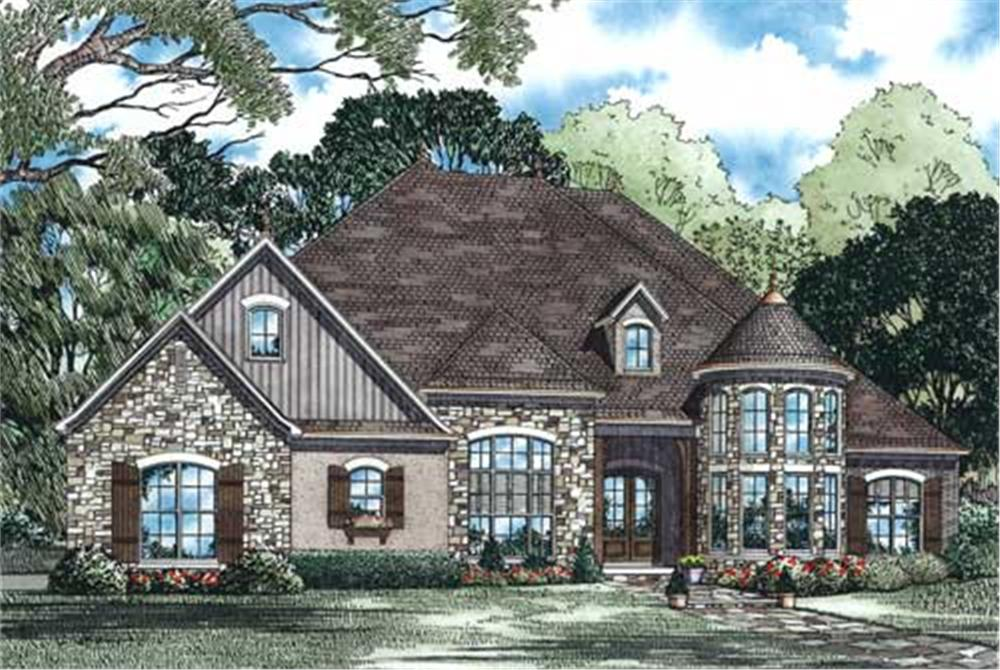 This is the front elevation of these European Home Plans.