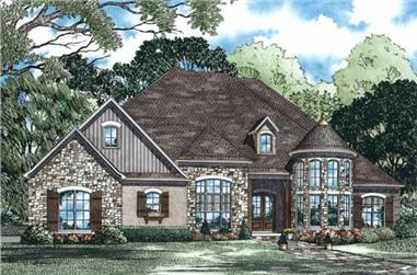 Front elevation of European home (ThePlanCollection: House Plan #153-1428)