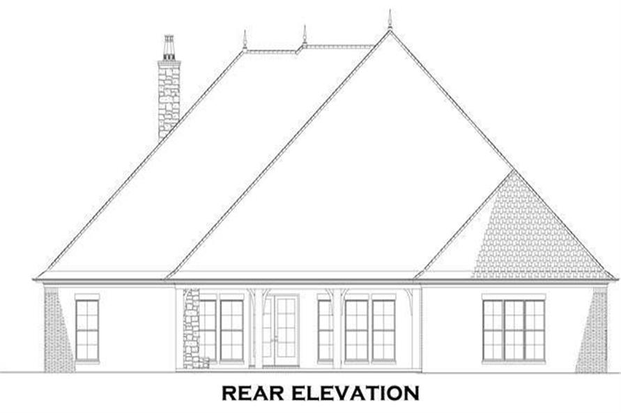 Home Plan Rear Elevation of this 4-Bedroom,3052 Sq Ft Plan -153-1428
