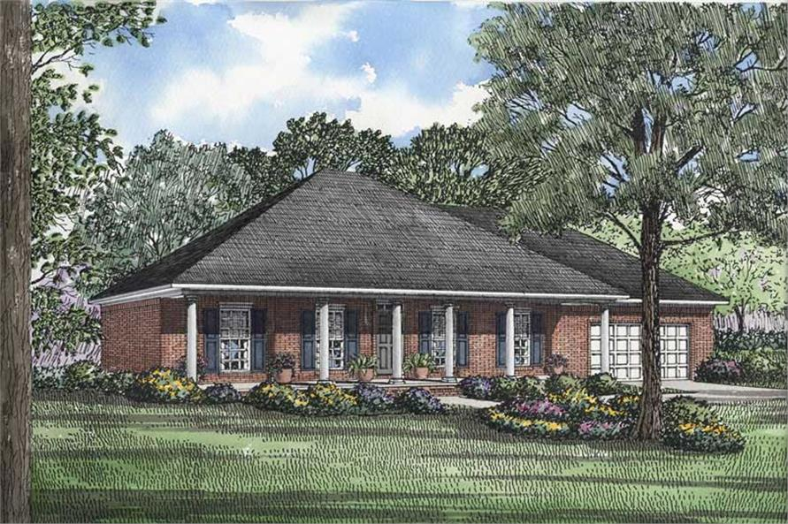 3-Bedroom, 1746 Sq Ft Southern Home Plan - 153-1431 - Main Exterior