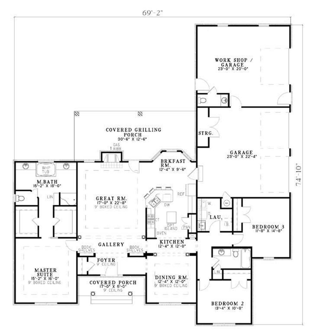 Traditional ranch house plan three bedrooms plan 153 1432 for Large house plans 7 bedrooms