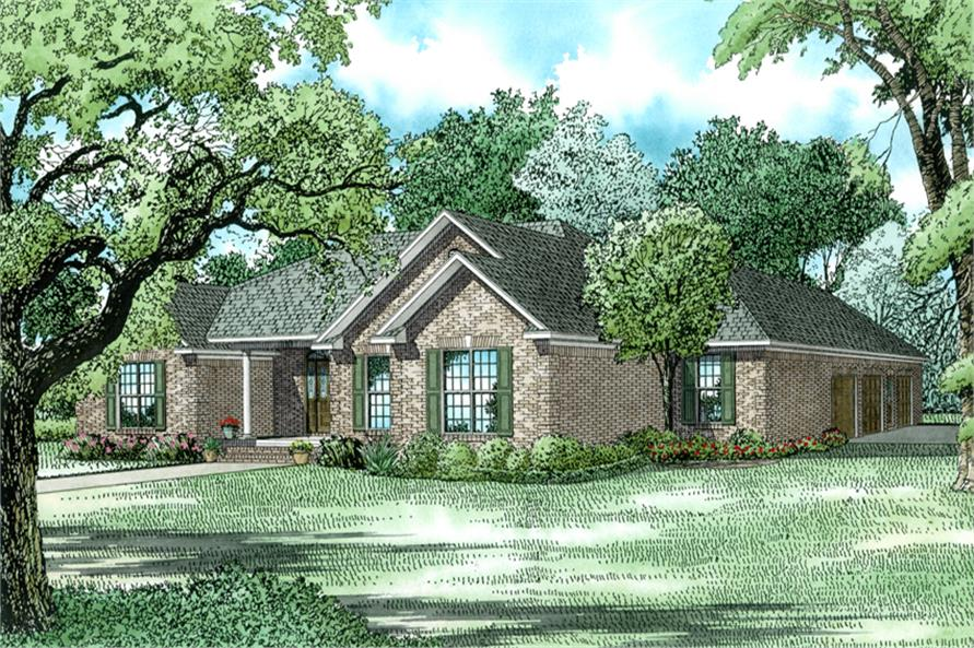 153-1432: Home Plan Rendering - Front Elevation in Brick