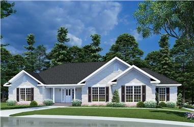 3-Bedroom, 2096 Sq Ft Ranch House Plan - 153-1432 - Front Exterior