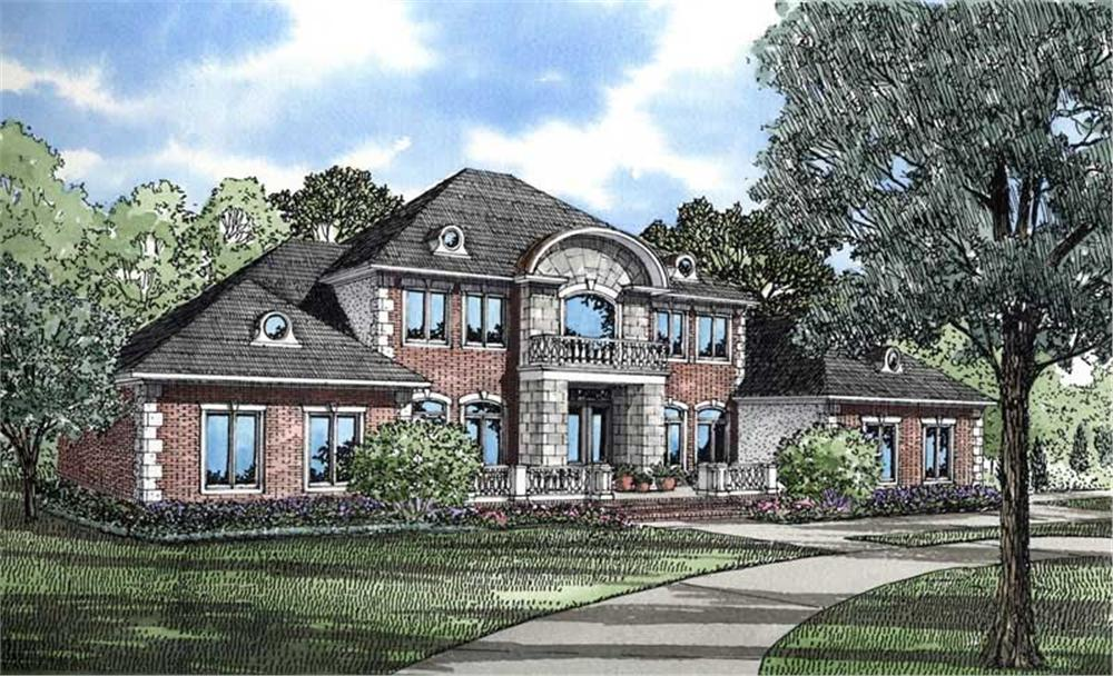 Front elevation of Georgian home (ThePlanCollection: House Plan #153-1436)