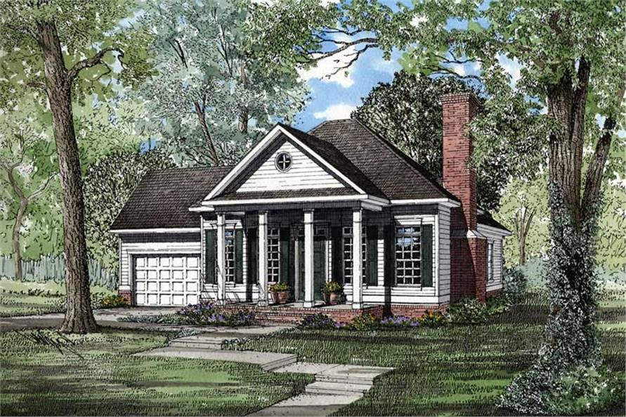 2-Bedroom, 1172 Sq Ft Small House Plans - 153-1437 - Front Exterior
