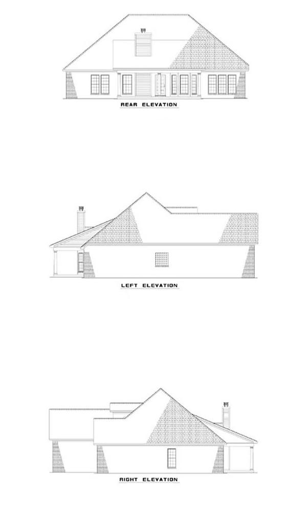 153-1440 house plan side and rear elevations