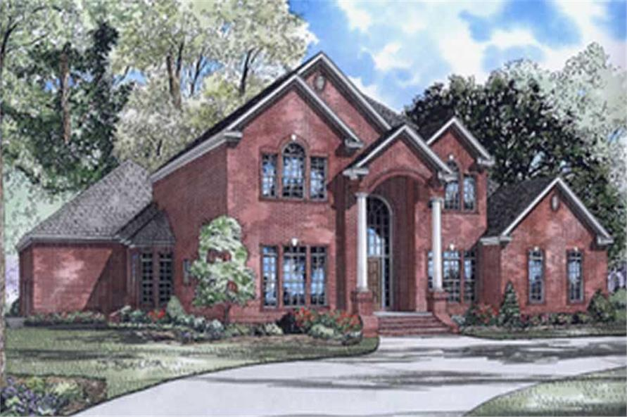 4-Bedroom, 4054 Sq Ft Colonial Home Plan - 153-1444 - Main Exterior