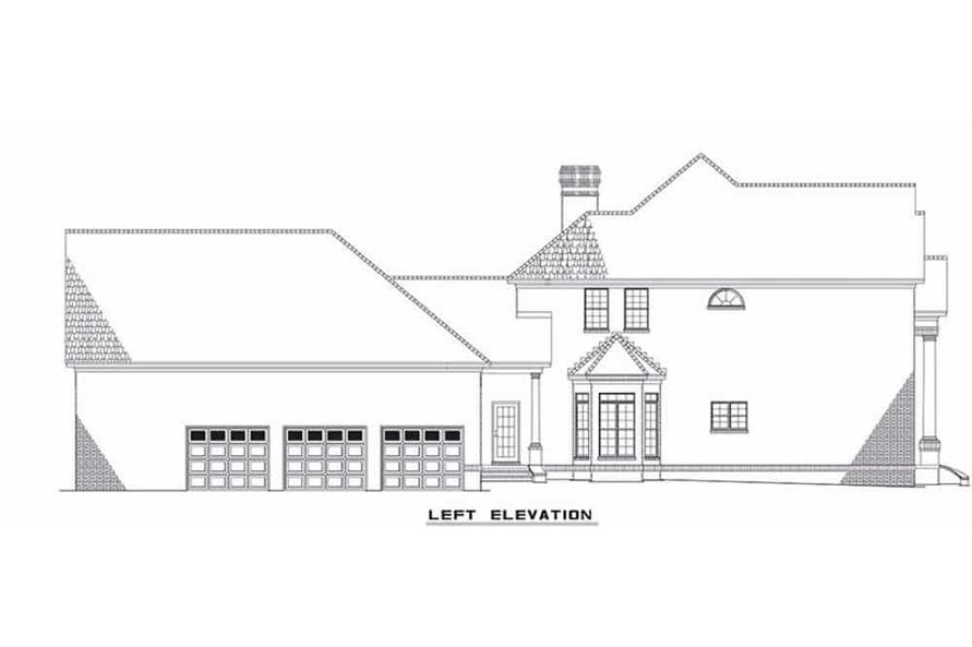 Home Plan Left Elevation of this 4-Bedroom,4054 Sq Ft Plan -153-1444