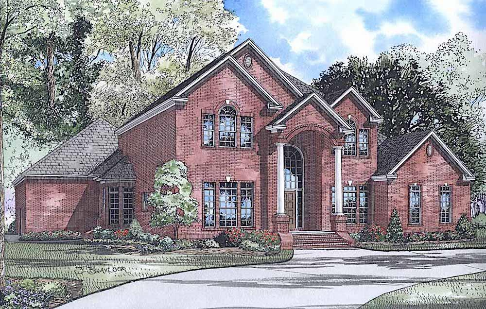 Traditional style house (ThePlanCollection: Plan #153-1444)