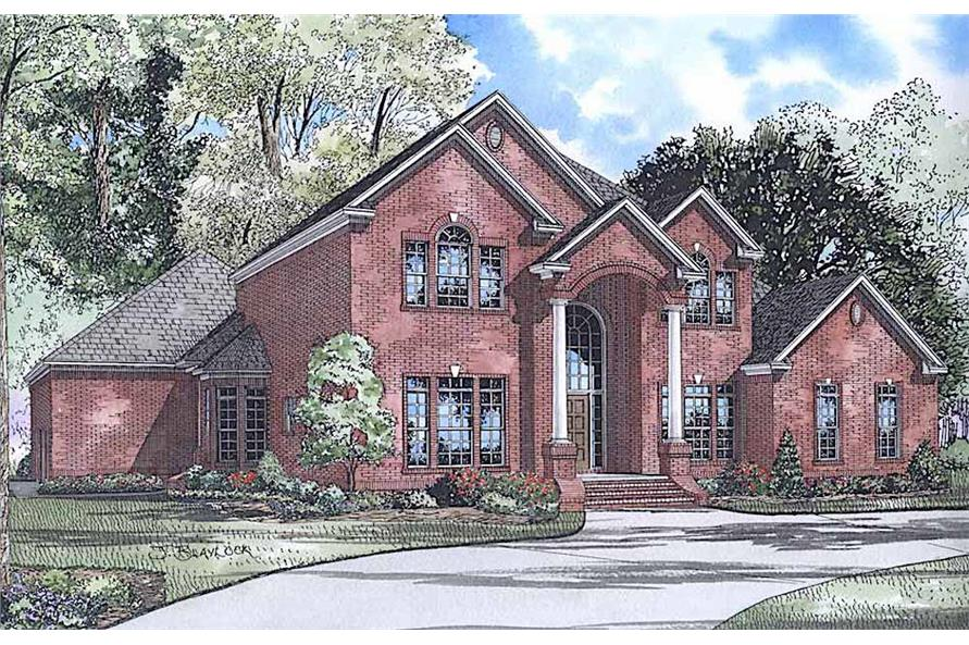 4-Bedroom, 4054 Sq Ft Traditional House Plan - 153-1444 - Front Exterior
