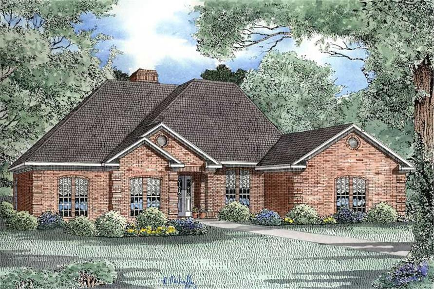 Front elevation of Ranch home (ThePlanCollection: House Plan #153-1446)