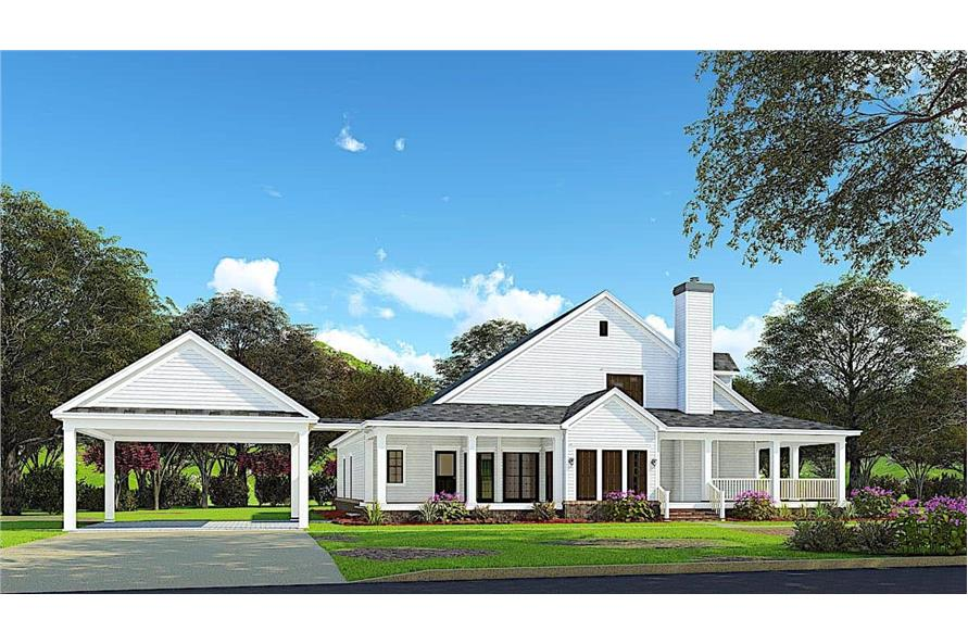 153-1454: Home Plan Rendering-Side View