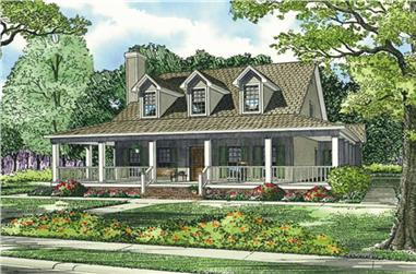 Front elevation of Southern home (ThePlanCollection: House Plan #153-1454)