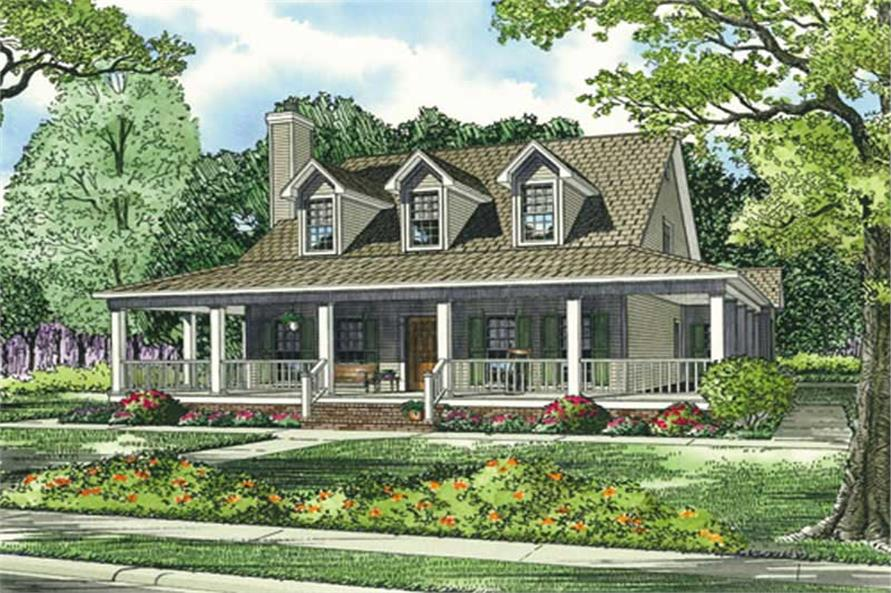 good southern traditional house plans #3: #153-1454 · Main image for house plan # 3507