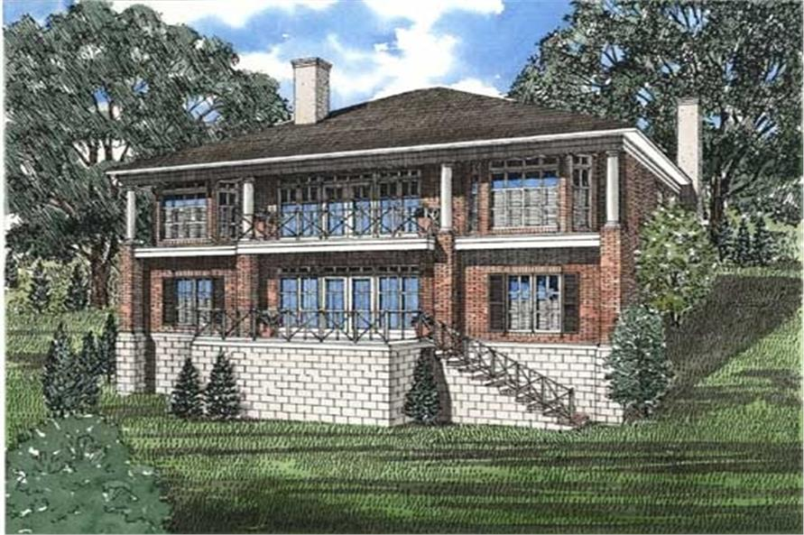 153-1458 house plan rear rendering