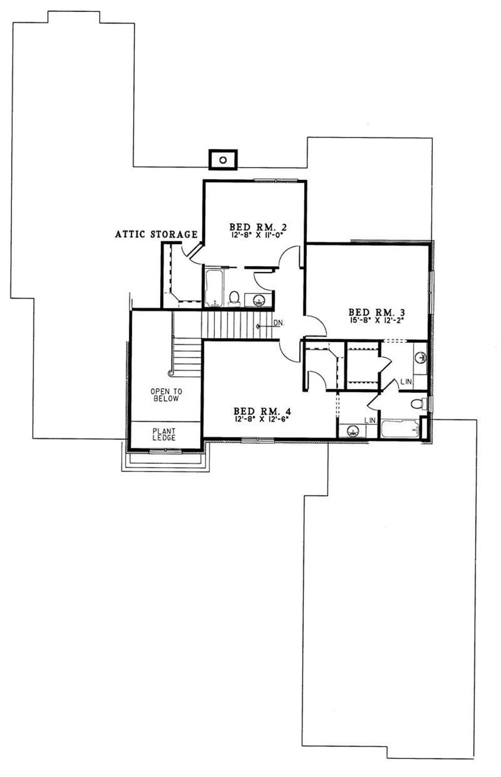 French european house plans home design ndg259 3309 for Second story floor plan