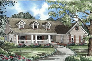 3-Bedroom, 2131 Sq Ft Country House Plan - 153-1464 - Front Exterior