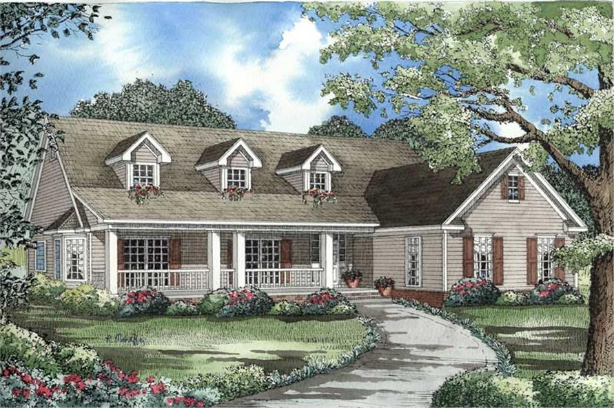 Front elevation of Country home (ThePlanCollection: House Plan #153-1464)