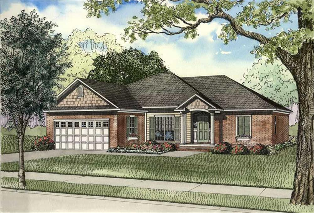 Front elevation of Craftsman home (ThePlanCollection: House Plan #153-1469)