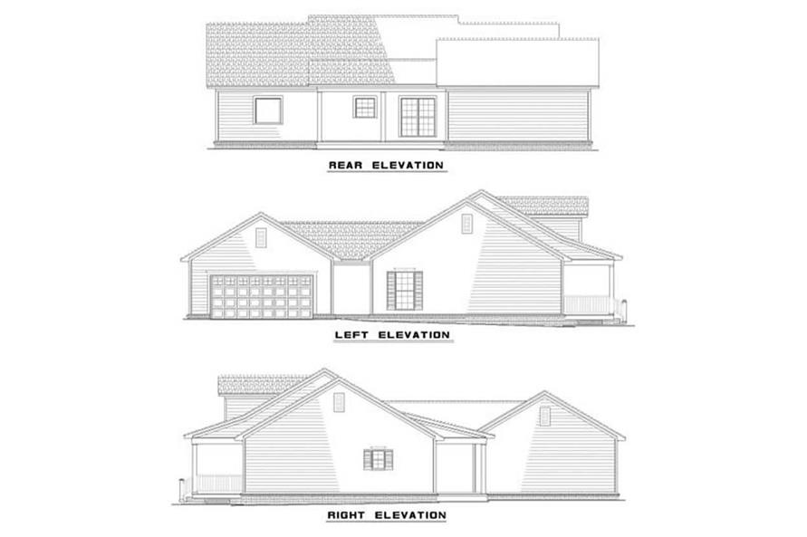 EXTERIOR ELEVATIONS of this 3-Bedroom,1597 Sq Ft Plan -1597