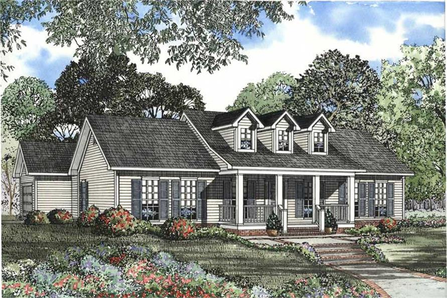 3-Bedroom, 1597 Sq Ft Cape Cod House Plan - 153-1470 - Front Exterior