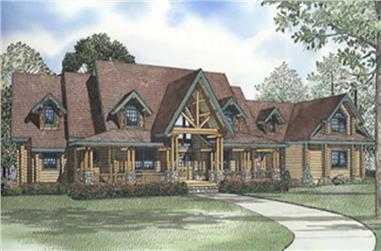 Log Cabin House Plans color rendering.