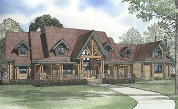 Log Cabin House Plans color rendering.