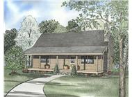 This image shows the beautiful exterior to this set of Log Home Plans.