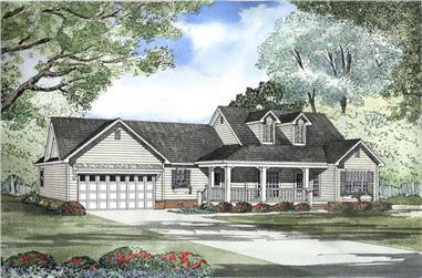 3-Bedroom, 1813 Sq Ft Cape Cod House Plan - 153-1483 - Front Exterior