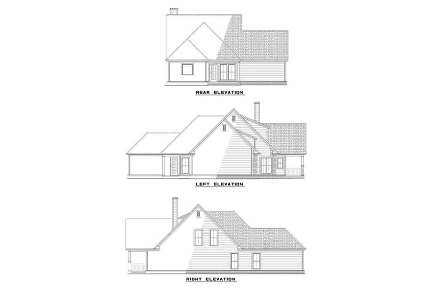 Home Plan Rear Elevation of this 3-Bedroom,1906 Sq Ft Plan -153-1486