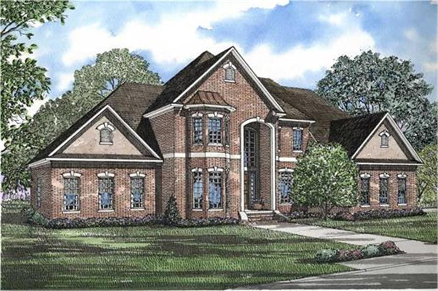 153-1488: Home Plan Rendering-Front Door