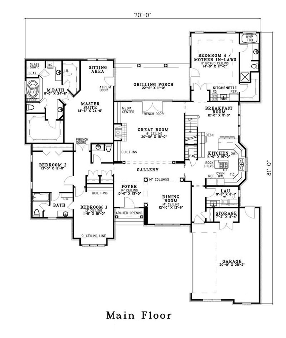 French country in law suite house plan home plan 153 1491 for Floor plan in french