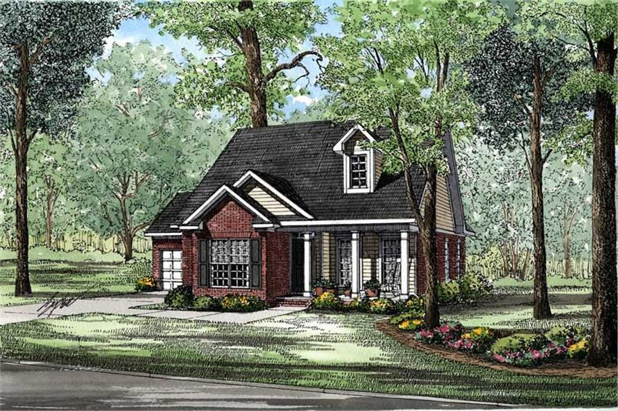 3-Bedroom, 1281 Sq Ft Small House Plans - 153-1492 - Main Exterior