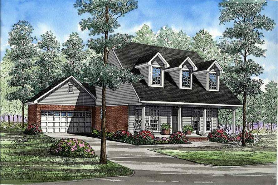 3-Bedroom, 1541 Sq Ft Country House Plan - 153-1496 - Front Exterior