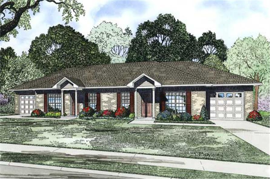 2-Bedroom, 1704 Sq Ft Multi-Unit Home Plan - 153-1498 - Main Exterior
