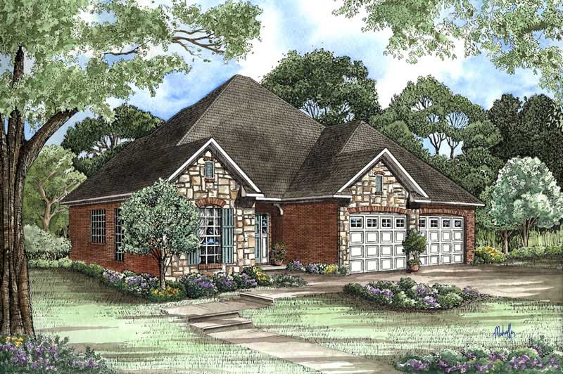 Small Country Home Plan 3 Bedrms 2 5 Baths 1379 Sq Ft