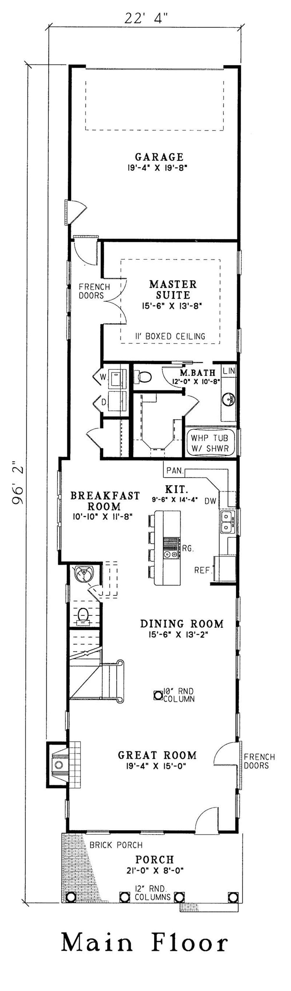 Georgian house plan 3 bedrms 2 5 baths 2177 sq ft for Rectangle farmhouse plans