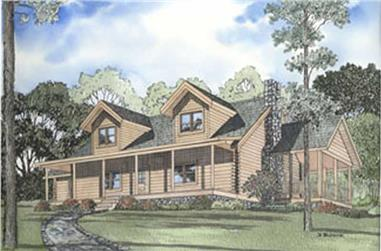 This image shows the front elevation for these Log Home Plans.