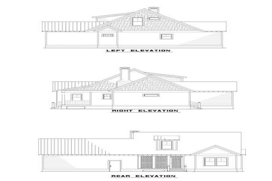 Home Plan Rear Elevation of this 2-Bedroom,1294 Sq Ft Plan -153-1517