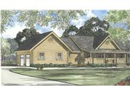 This image shows the front elevation for these Log House Plans.