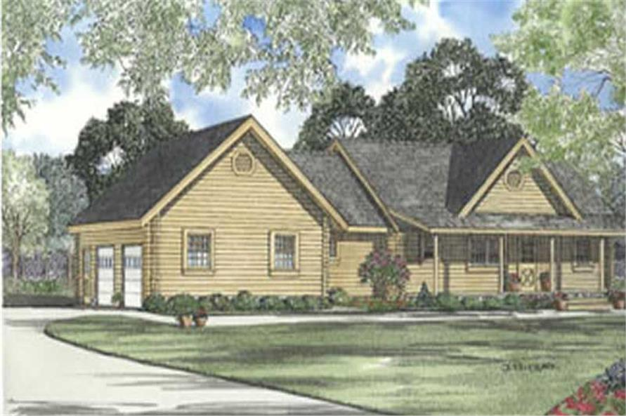 3-Bedroom, 1616 Sq Ft Log Cabin Home Plan - 153-1518 - Main Exterior