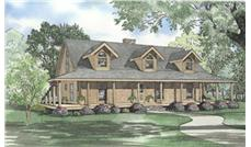 Colorful main image for log house plan # 5119