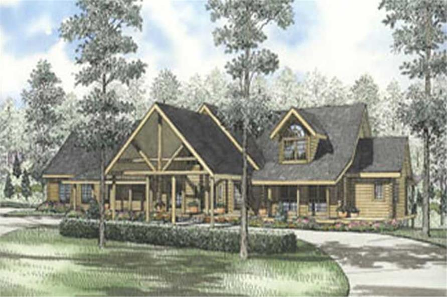4-Bedroom, 4542 Sq Ft Log Cabin House Plan - 153-1525 - Front Exterior
