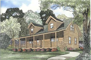 This image shows the front elevation for this set of Log Cabins Home Plans.