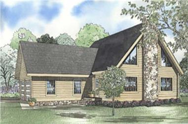 3-Bedroom, 2408 Sq Ft Log Cabin House Plan - 153-1530 - Front Exterior