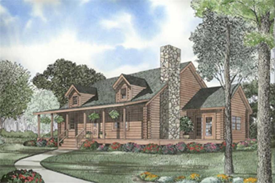 3-Bedroom, 2064 Sq Ft Log Cabin Home Plan - 153-1532 - Main Exterior