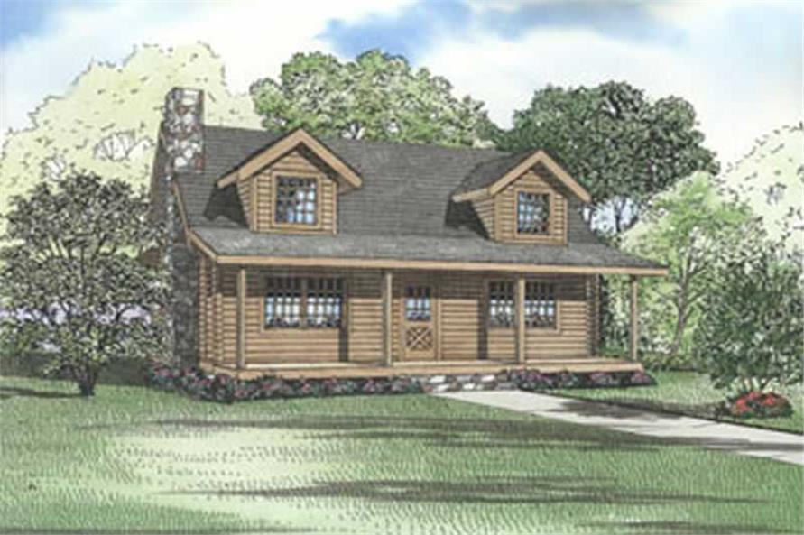 4-Bedroom, 1492 Sq Ft Log Cabin Home Plan - 153-1533 - Main Exterior