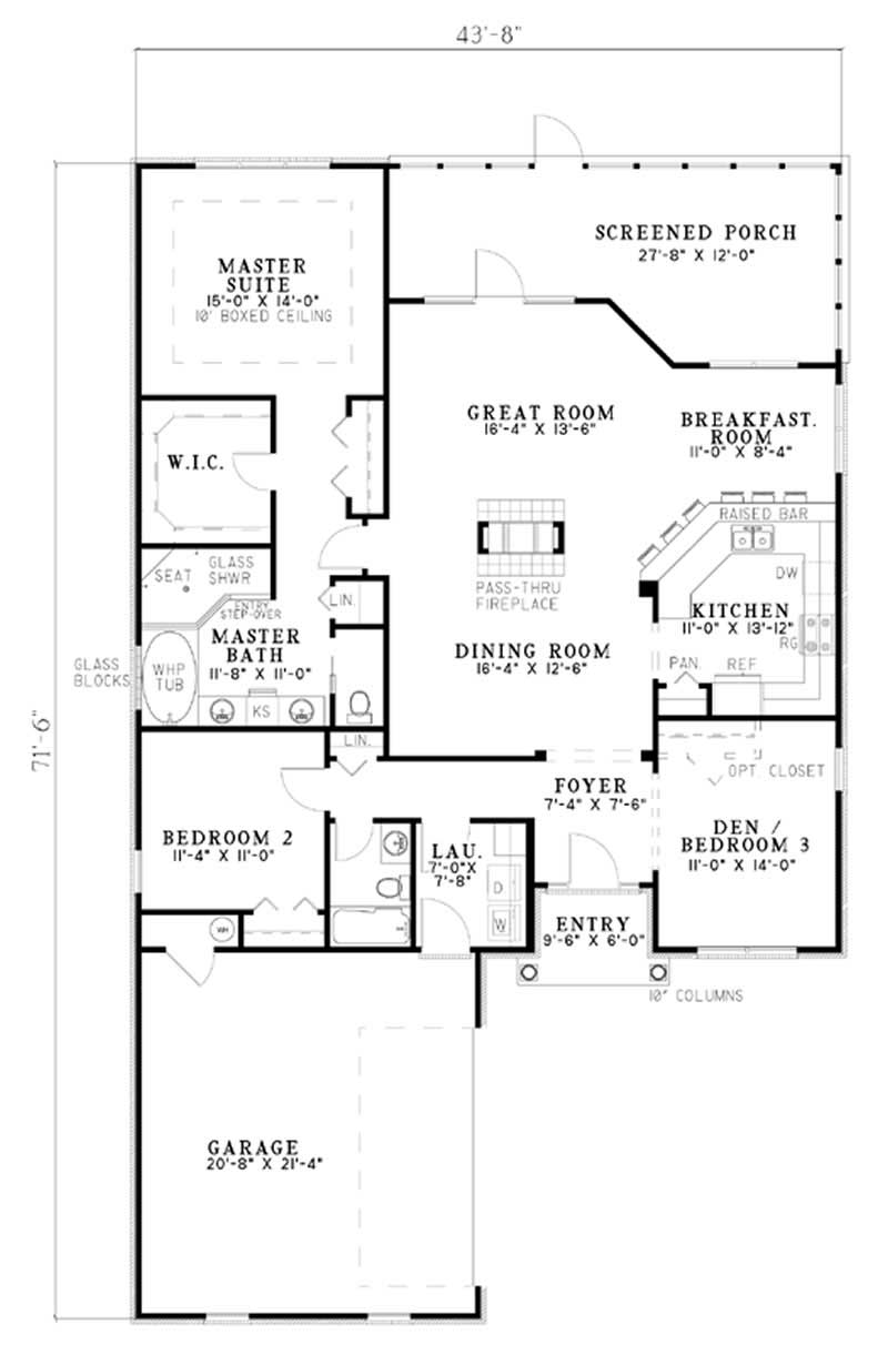 3 Bedrm 1827 Sq Ft Country House Plan 153 1536