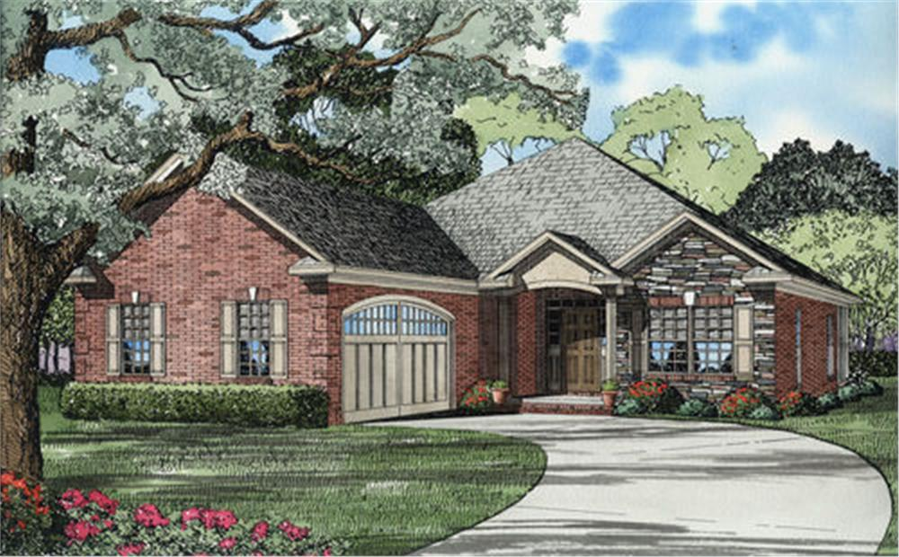 Front elevation of this French Country Ranch (ThePlanCollection: House Plan #153-1536)